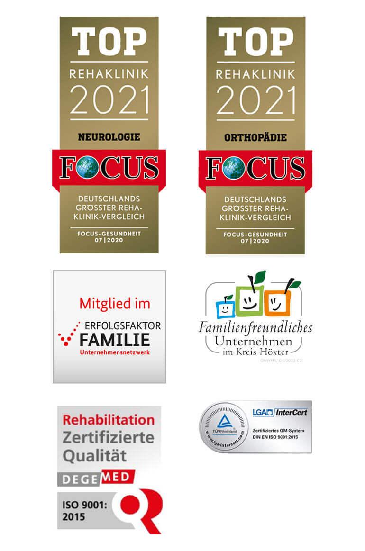 Siegel und Auszeichnungen der Marcus Klinik